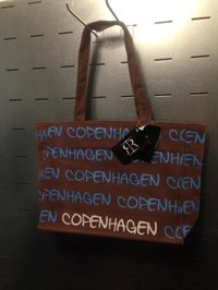 Brun canvas shopping taske 129,-